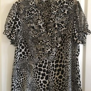 Agora Black on White Animal Print Blouse